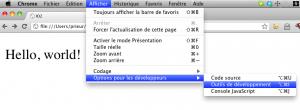 menu Chrome pour outils dev