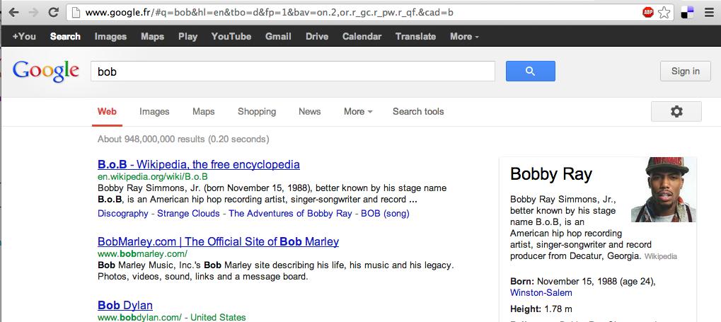"""page google pour la requête """"bob"""""""