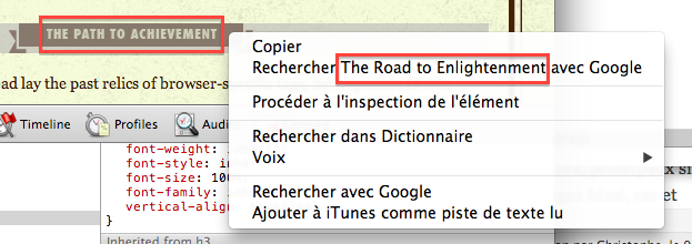 "quand on clique droit sur ""the path to achievement"", le menu propose de rechercher ""the road to enlightenment"" sur Google"