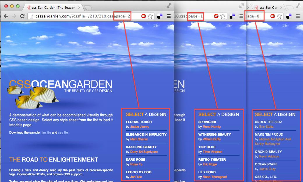 screenshot, 3 pages différentes du même style